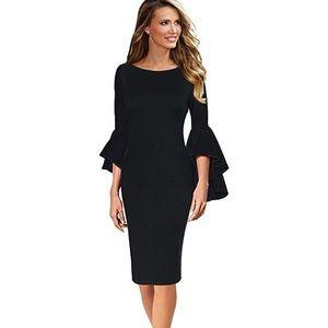 Elegant bell sleeve black cocktail dress
